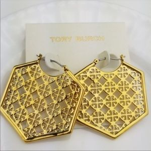 TORY BURCH GOLD PERFORATED LOGO HOOP EARRINGS